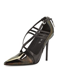 L.A.M.B. Boston Strappy Pump Black Iridescent
