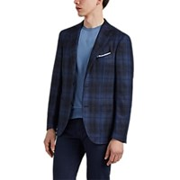 Luciano Barbera Plaid Silk Blend Flannel Two Button Sportcoat Navy