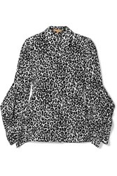Michael Kors Collection Leopard Print Silk Crepe De Chine Blouse Black