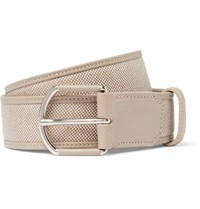 Loro Piana 3.5Cm Grey Leather Trimmed Linen Belt Stone