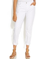 Eileen Fisher Cuffed Boyfriend Jeans White