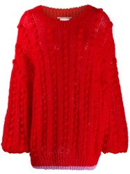Marco De Vincenzo Ball Knit Jumper Red