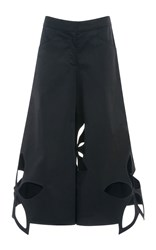 Rosie Assoulin Cotton Twill Flower Cut Out Pants Black