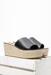 Forever 21 Faux Leather Espadrille Wedges Black