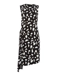 Hugo Boss Printed Sleeveless Dress With Ruched Waist Black
