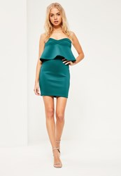 Missguided Green Strapless Overlay Scuba Mini Dress Teal