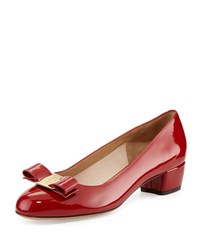 Salvatore Ferragamo Vara 1 Patent Bow Pump Red Rosso Rosso Red
