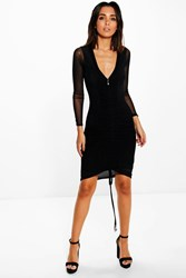 Boohoo Sheer Mesh Rouched Detail Bodycon Dress Black