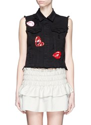 Giamba Mix Lip Applique Sleeveless Denim Vest Black