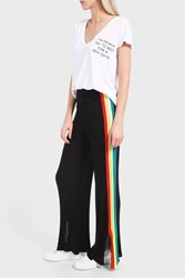 Wildfox Couture Women S Striped Ribbed Cotton Blend Trousers Boutique1 Black