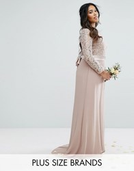Tfnc Plus Wedding Lace Maxi Dress With Bow Back Mink Grey