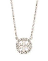 Tory Burch Delicate Crystal Logo Pendant Necklace Silver