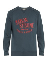 Maison Kitsune Palais Royal Crew Neck Sweatshirt Blue