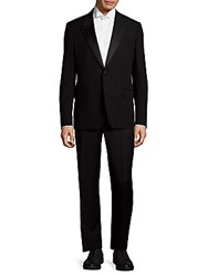 Versace Wool Textured Suit Black