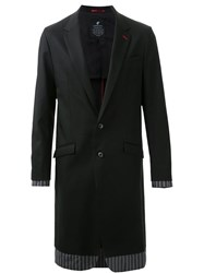 Loveless Contrast Panel Long Single Breasted Jacket Black