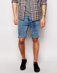 New Look Skinny Fit Shorts In Acid Wash Blue