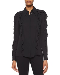 Michael Kors Long Sleeve Allover Ruffle Blouse Black