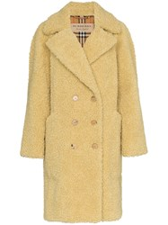 Burberry Lillingstone Double Breasted Faux Shearling Wool Blend Coat Neutrals