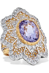 Buccellati 18 Karat Yellow And White Gold Diamond And Tourmaline Ring 52