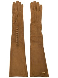 Dsquared2 Goat Skin Long Gloves Brown