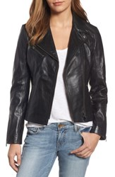 Lamarque Women's Asymmetrical Zip Leather Biker Jacket Black