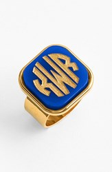 Women's Moon And Lola 'Vineyard' Personalized Monogram Ring Cobalt