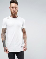 Asos Longline Muscle T Shirt With Curved Hem In Linen Look Cream White