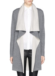 Vince Two Tone Drape Front Long Cardigan Grey