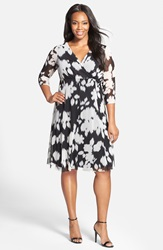 London Times Print V Neck Fit And Flare Dress Plus Size Black White