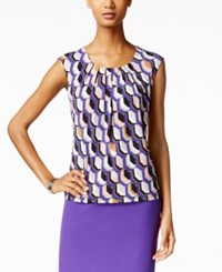 Kasper Printed Pleat Neck Top Regal Purple Multi