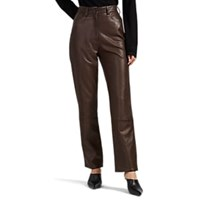 The Row Charlee Leather Straight Leg Jeans Brown