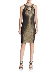 Jax Metallic Sheath Dress Black Gold