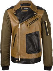 Dsquared2 Pocket Arm Biker Jacket Nude And Neutrals