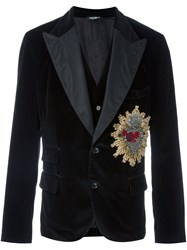 Dolce And Gabbana Sacred Heart Velvet Dinner Jacket Black