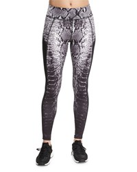 Michi Stardust Printed Sport Leggings With Mesh Inserts Black Python Prnt