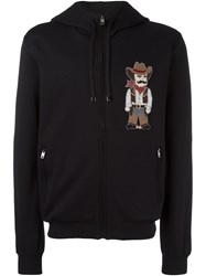 Dolce And Gabbana Cowboy Patch Zip Hoodie Black