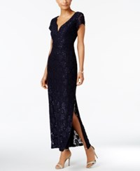 Connected Sequined Lace Column Gown Navy