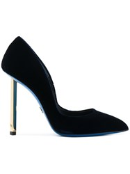 Loriblu Velvet Stiletto Pumps Velvet Rubber Leather Black