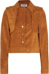 Frame Le Cropped Trench Suede Jacket Tan