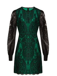 Alexander Mcqueen Round Neck Lace Mini Dress Black Green