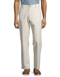 Nautica Linen And Cotton Flat Front Pants Wheat Flax