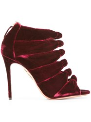 Aquazzura Velvet Sandals Red