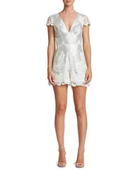 Dress The Population Sabrina Lace And Sequin Romper White Matte