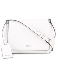 Dkny Foldover Crossbody Bag Women Leather One Size White