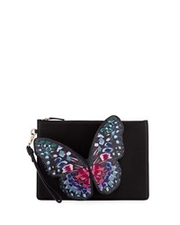 Sophia Webster Flossy Butterfly Pochette Clutch Bag Black Blue Multi