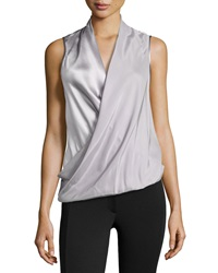Lafayette 148 New York Silk Wrapped Sleeveless Blouse Silver