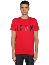 Dsquared Icon Print Cotton Jersey T Shirt Red Black