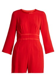 Goat Fillie Long Sleeved Crepe Cady Playsuit Red