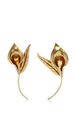 Rodarte Antique Honey Brass Lily Earrings Gold