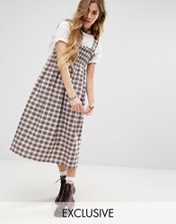 Reclaimed Vintage Midi Dress In Check With Shirring Red